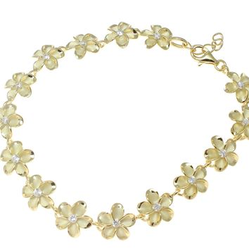 "YELLOW GOLD 925 SILVER HAWAIIAN FANCY PLUMERIA FLOWER ANKLET CZ 10MM 9.5""+"