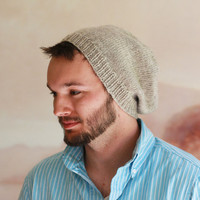 Slouchy Bleanie Hat for Men Hand Knit in Oatmeal Wool