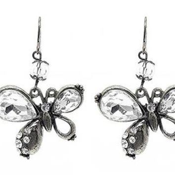 Butterfly Glass Bead Fish Hook Earrings