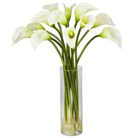 SheilaShrubs.com: Cream Mini Calla Lily Silk Flower Arrangement 1187-CR by Nearly Natural : Artificial Flowers & Plants