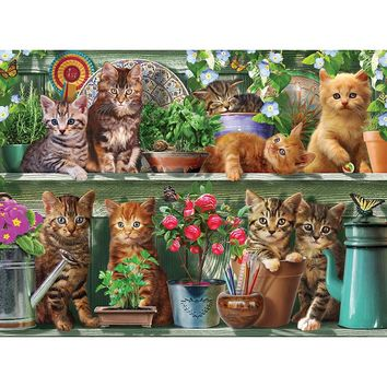 5D Diamond Painting Kitten Garden Shelf Kit