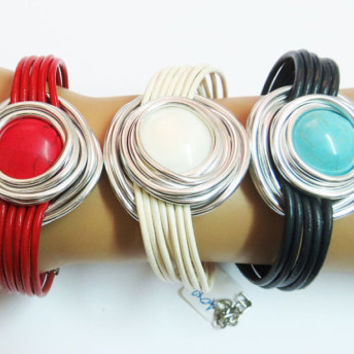 Mother Of Pearl Bracelet,  Silver And Shell Bracelet, Silver Wire Bracelet, Shell Bracelet, Wrap Stone Bracelet,  Stone Bracelet, Wrapped