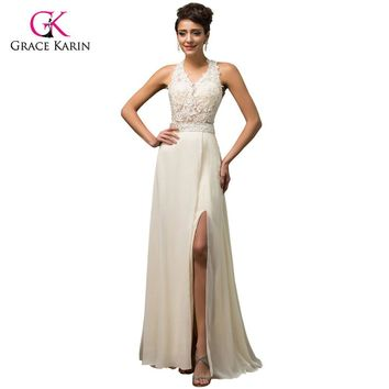 Grace Karin Long Beige Evening Dresses 2017 Deep V-Neck High-Slit Chiffon Open back Party Dresses Formal Gowns robe de soiree