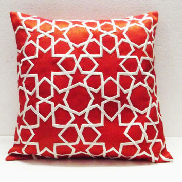 orange and white morrocan tile decorative embroidered throw pillow cover-16x16inches