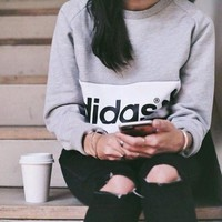 "Casual ""Adidas"" Print Sweatshirt Top Sweater"