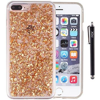 iPhone 7 Plus Case, iYCK Luxury Bling Glitter Sparkle [Gold Foil Embedded] Flexible Soft Rubber Gel TPU Protective Shell Bumper Case Cover for iPhone 7 Plus 5.5inch - Champagne Gold