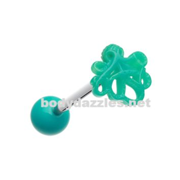 Evil Octopus Acrylic Barbell Tongue Ring 14ga Surgical Steel