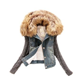 New 2017 Women Spring Autumn Short Denim Jacket Women Winter Slim Yarn Large Fur Collar Lamb Cotton Denim Jeans Outerwear JK279
