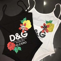 D&G Dolce&Gabbana Flower Women Fashion Backless One Piece Swimwear Bikini Swimsuit