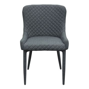 Set of (2) Savoy Accent Chair in Graphite Fabric with Metal Leg