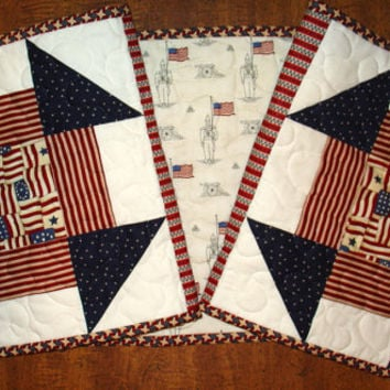 Patriotic Table Runner, 12 X 48 handmade, machine quilted, red, blue, white, washable. Great for Mothers Day.