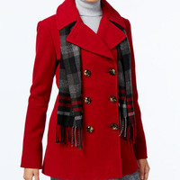 London Fog Double-Breasted Peacoat with Scarf - Coats - Women - Macy's
