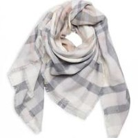 Plaid Square Blanket Scarf In Ivory Multi One Size Fits All