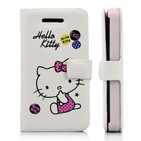 Hello Kitty & Bowknot Wallet Style Leather Case With Magnetic Flip For iPhone 4 and 4S WHITE