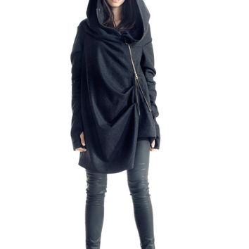 Asymmetryc Extravagant Dark Grey Hoodded Coat / Casha Coat / Zip Hooded Jacket A 07057