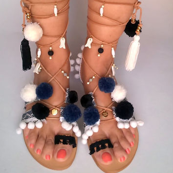 POM POM sandals, Leather sandals, Gladiator sandals, Womens shoes, Boho sandals, Handmade sandals, Womens sandals, Gifts, Greek sandals