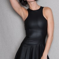 Shelly Faux Leather-Look Racer Skater Mini Dress - Black