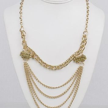 Rhinestone Accented Long Multi-Strand Chain Necklace
