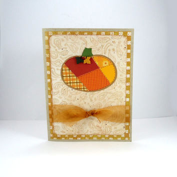 Thanksgiving Card, Happy Thanksgiving, patchwork pumpkin, fall autumn card, kraft card, orange brown gold