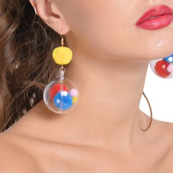 2018 Large fashion exaggerated ideas transparent ball hit candy color earrings hipster fashion and personality earrings