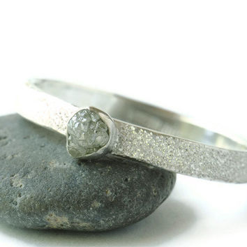 Rough Diamond Ring Pave' Finish Sterling by DalkullanJewelry