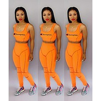Champion Summer Newest Woman Casual Print Sleeveless Vest Top Pants Set Sport Two Piece Orange