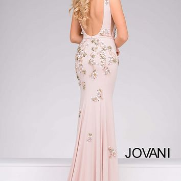 Blush Jersey Embellished Prom Dress 42296