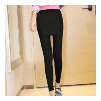 Leggings Woman Slim Fake 2pcs Skirt   hip skirt black
