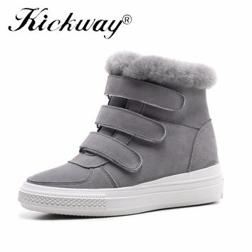 Kickway Women Snow boots Fur Height Increasing Warm Boots Shoes Women Winter Booties Real Fur Round Toe Casual Outside Shoes