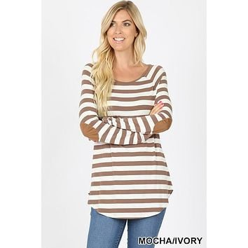 Striped Long sleeve boat neck with elbow suede patch