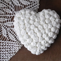 Valentine heart fabric flowers Hanging home decor white handmade ready to ship