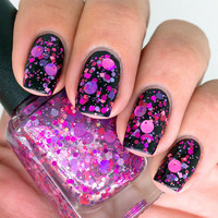 "Nail polish - ""Super Vixen"" purple and pink glitter in a clear base - new 12 ml bottle"