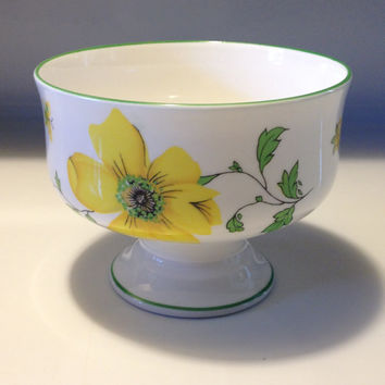 Royal Victoria Fine Bone China England Pedestal Dessert Cup Yellow Dogwood Pattern Vintage China