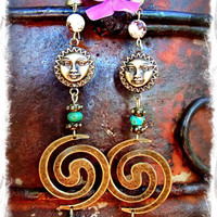 Ancient SUN Earrings Tribal SWIRL earrings antique Brass by GPyoga