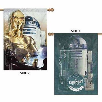 "C-3PO & R2-D2 COUNTERPART ARTOO-DETOO  WARS 28""X40"" 2-SIDED BANNER FLAG NEW"