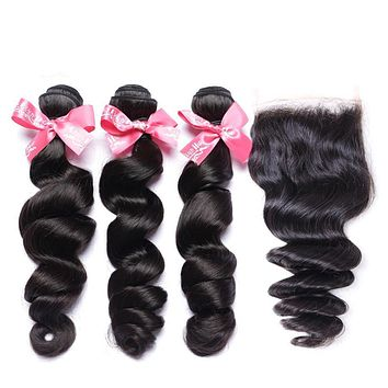 Black Wavy Human Hair Extension 4 pcs Set