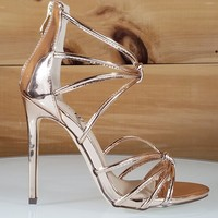 So Me Janal Rose Gold Tube Strap High Heel Sandal