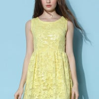 Flowery Embellished Mesh Dress in Yellow Yellow