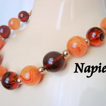 Napier Simulated Amber Lucite Bead Necklace / Designer Signed / 80s Vintage Jewelry / Jewellery