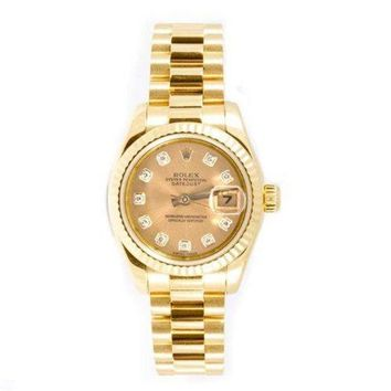 DCCK2JE Rolex Ladys President New Style Heavy Band 18k Yellow Gold Model 179178 Fluted Bezel Champagne Diamond Dial