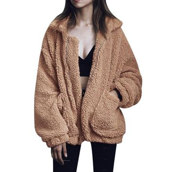 2017 Winter Luxury Fox Fur Coat Long Sleeve Womens Fur Jacket Thick Warm Faux Fur Long Coat Wool Cashmere Zipper Coat Plus Size