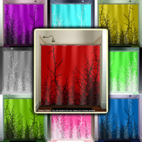 willow twig grass tree branch red shower curtain bathroom decor fabric kids bath window curtains panels bathmat valance