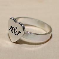 Personalized heart sterling silver ring