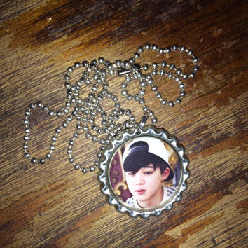 Jimin BTS KPOP group face bottlecap necklace