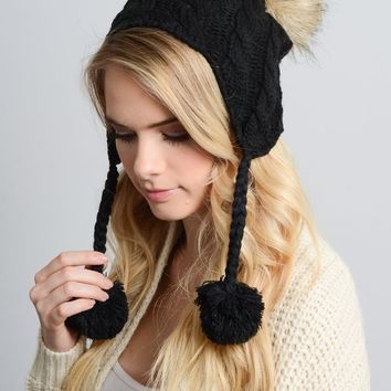 Cable Knit Ear Flap Beanie Cap Hat in Black