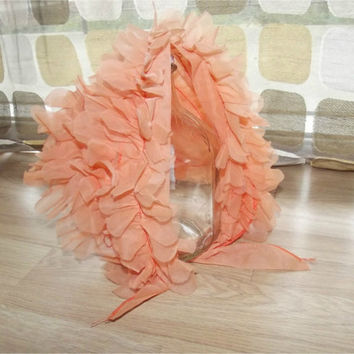 Vintage 50s 60s 3D Ruffled Flowers Head Scarf Kerchief Orange Sheer Nylon Chiffon Bonnet