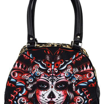 Liquor Brand Butterfly Day of the Dead Tattoo Rockabilly Punk Bowling Bag