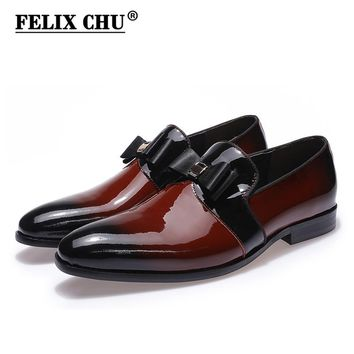 FELIX CHU Genuine Patent Leather Men Burgundy Wedding Party Dress Shoes Slip On Formal Banquet Loafer With Bowtie #A180-A23