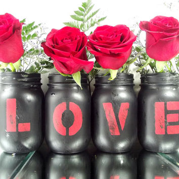 LOVE, set of 4 (four) - Rustic, Hand Painted Mason Jars -- Home Decor -- Black Painted Mason Jars
