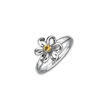 Silver Stackable 12mm 1/10 Carat Citrine Flower Ring